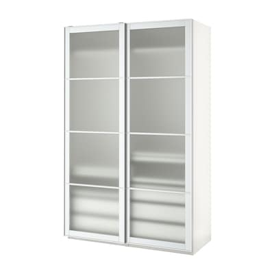 PAX Wardrobe, white/Nykirke frosted glass, check pattern, 150x66x236 cm