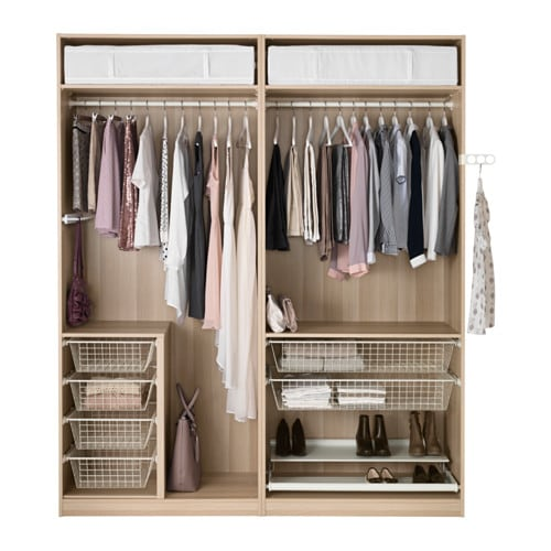 Pax wardrobe white stained oak effect f rvik white glass 200x66x236 cm ikea - Accessoire dressing ikea ...