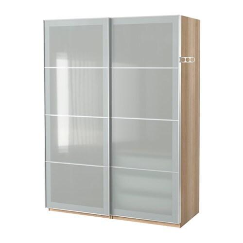 Pax wardrobe white stained oak effect sekken frosted glass for Ikea pax planen