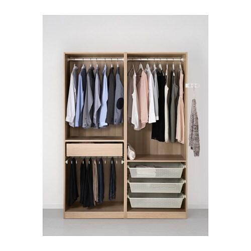 pax wardrobe white stained oak effect sekken frosted glass 150x66x201 cm ikea. Black Bedroom Furniture Sets. Home Design Ideas