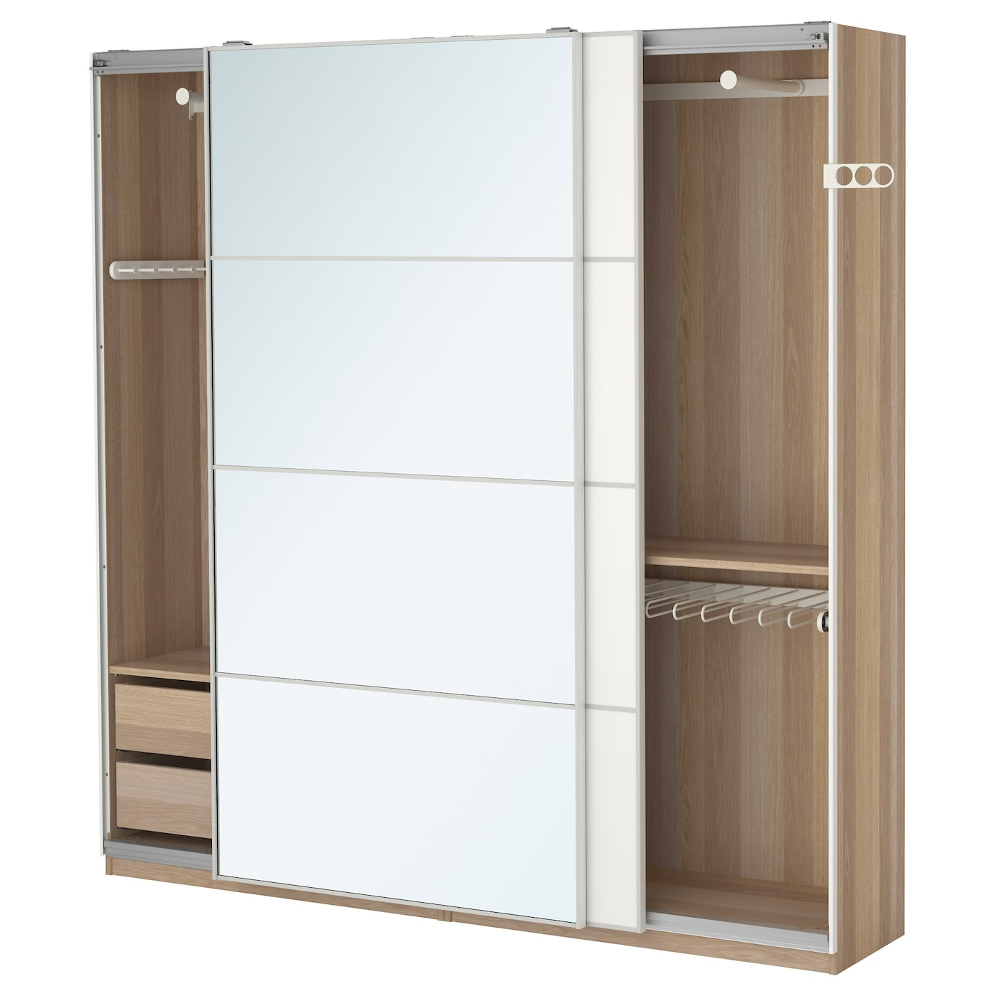 pax wardrobe white stained oak effect auli mehamn. Black Bedroom Furniture Sets. Home Design Ideas