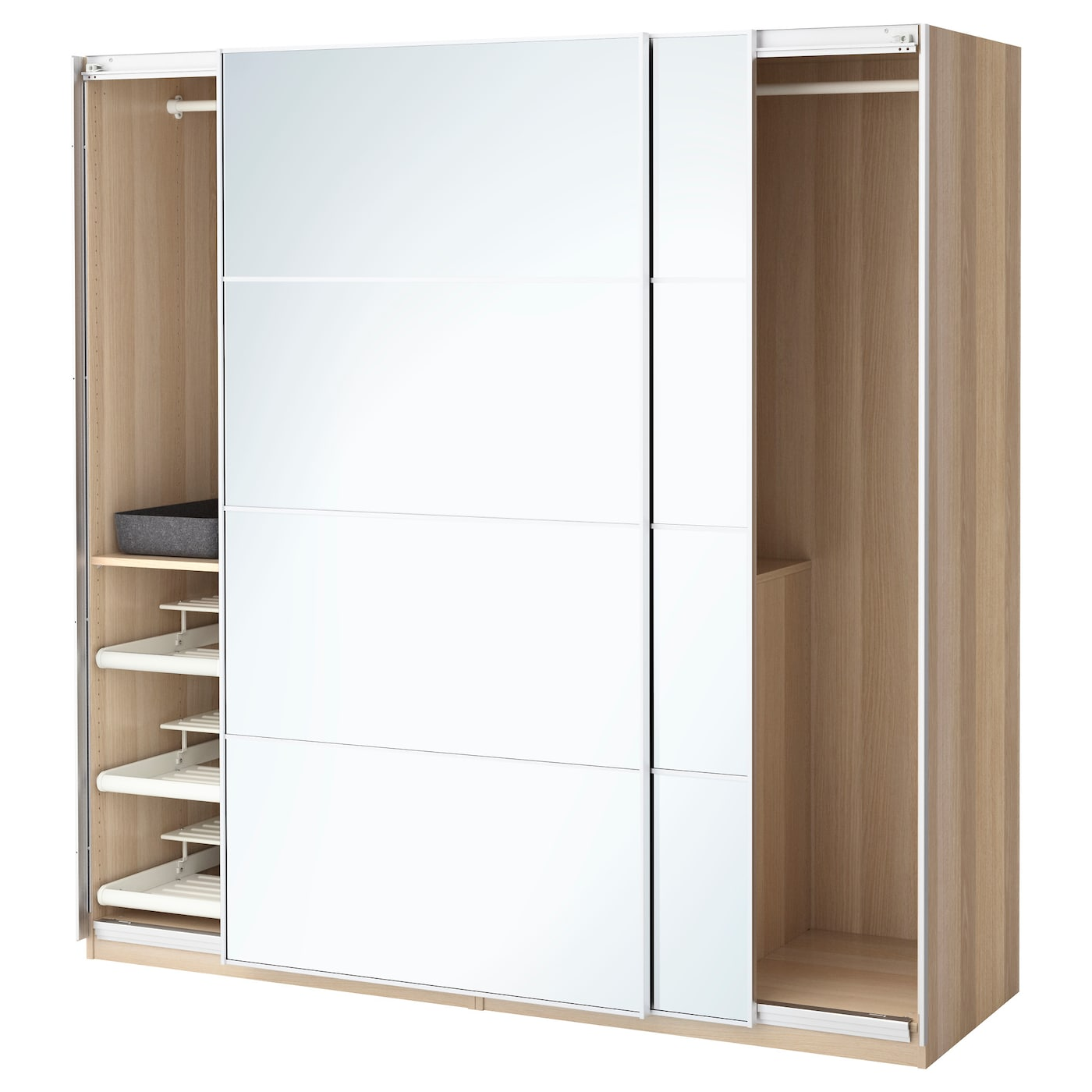 pax wardrobe white stained oak effect auli mirror glass. Black Bedroom Furniture Sets. Home Design Ideas