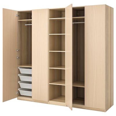 PAX Wardrobe, white stained oak effect/Forsand white stained oak effect, 250x60x236 cm