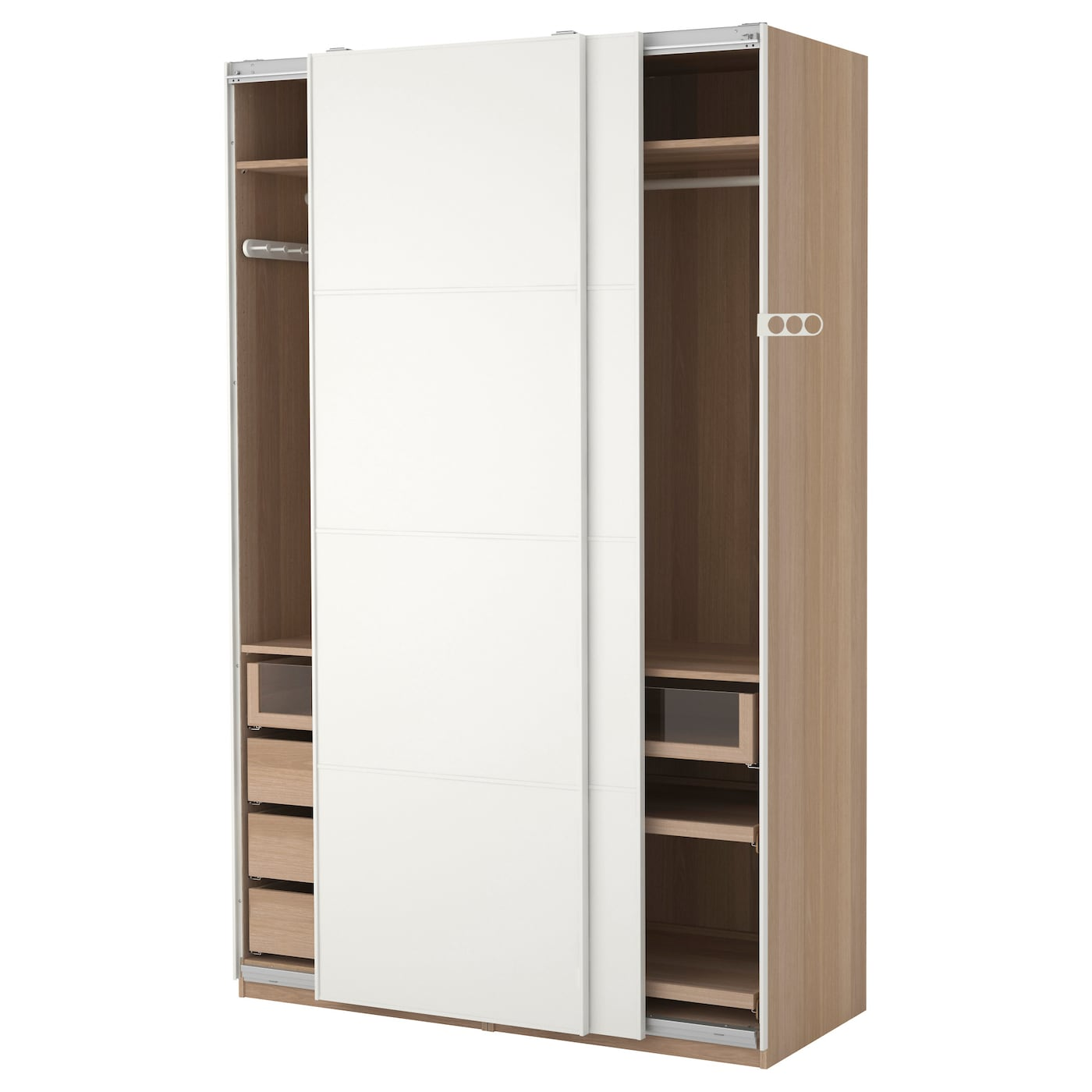 pax wardrobe white stained oak effect mehamn white 150 x 66 x 236 cm ikea. Black Bedroom Furniture Sets. Home Design Ideas
