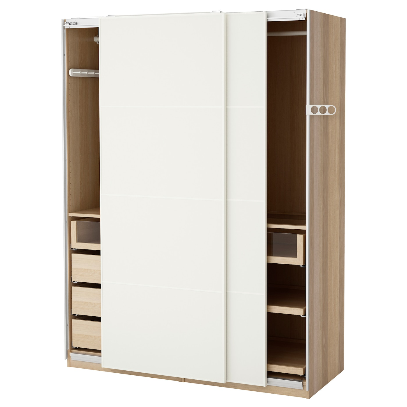 Pax wardrobe white stained oak effect mehamn white 150 x 66 x 201 cm ikea for Creation armoire ikea