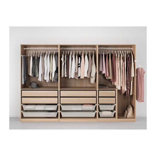 Pax wardrobe white stained oak effect nexus vikedal 300x60x201 cm ikea - Penderie dressing ikea ...