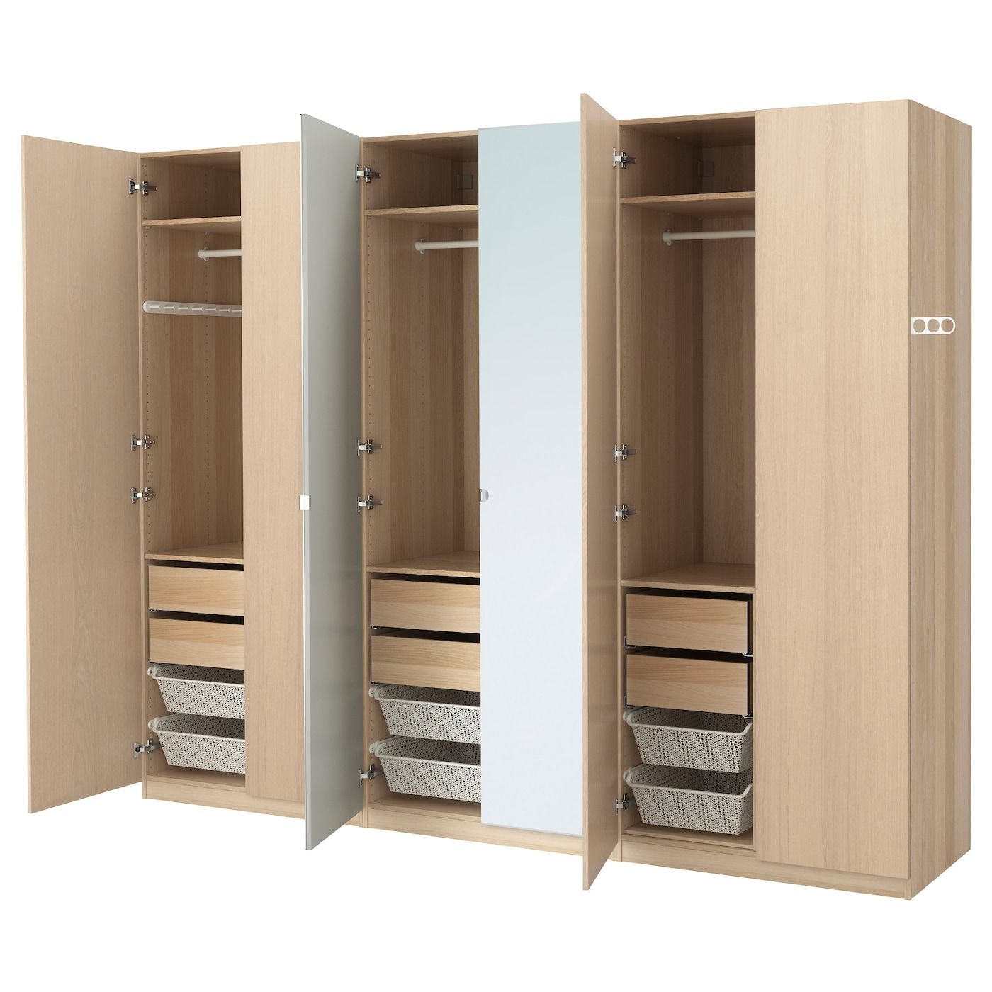 pax wardrobe white stained oak effect nexus vikedal 300x60x236 cm ikea. Black Bedroom Furniture Sets. Home Design Ideas