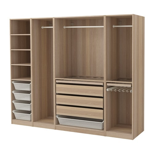Pax wardrobe white stained oak effect 250x58x201 cm ikea for Stores like ikea in hawaii