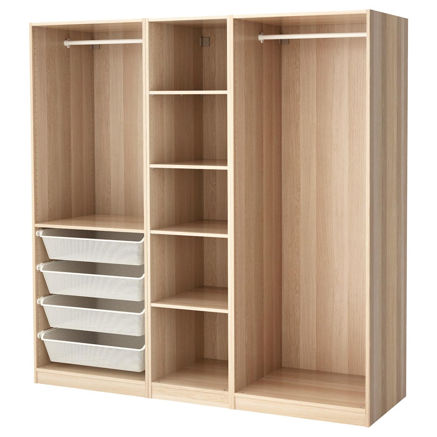 pax wardrobe white stained oak effect 200 x 58 x 201 cm ikea. Black Bedroom Furniture Sets. Home Design Ideas