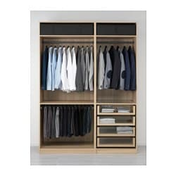 Pax wardrobe white stained oak effect 175x58x236 cm ikea - Tiroir pour dressing ikea ...