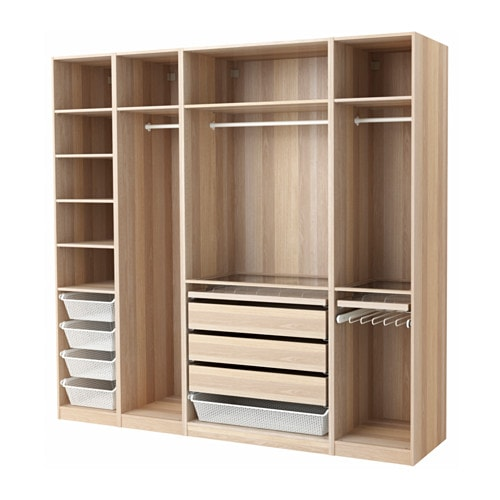 Pax wardrobe white stained oak effect 250x58x236 cm ikea - Armoire penderie angle ...