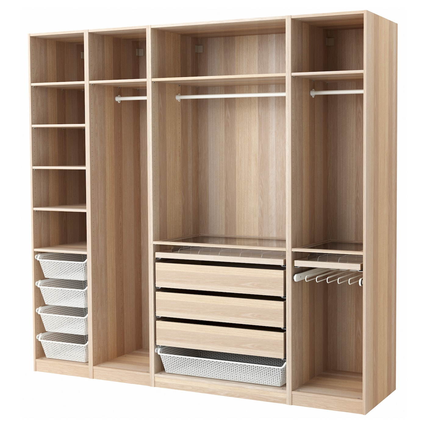 pax wardrobe white stained oak effect 250x58x236 cm ikea. Black Bedroom Furniture Sets. Home Design Ideas