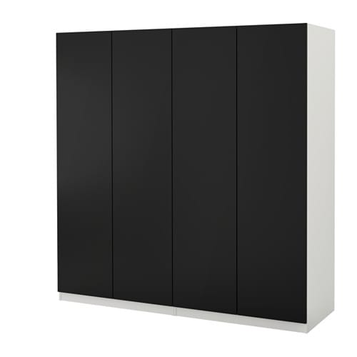 pax wardrobe white tanem black 200x60x201 cm ikea. Black Bedroom Furniture Sets. Home Design Ideas