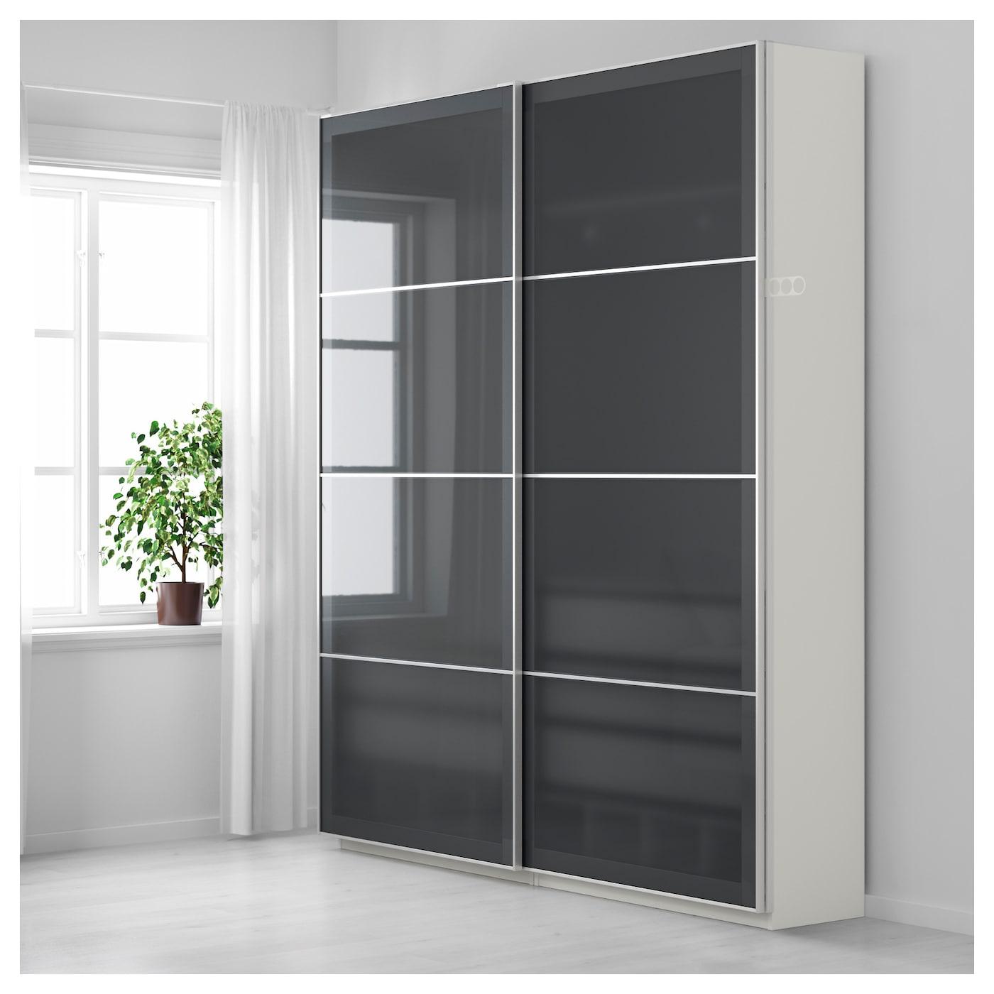 Pax Wardrobe White Uggdal Grey Glass 200 X 44 X 236 Cm Ikea
