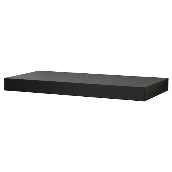 PERSBY Wall shelf, black-brown, 59x26 cm