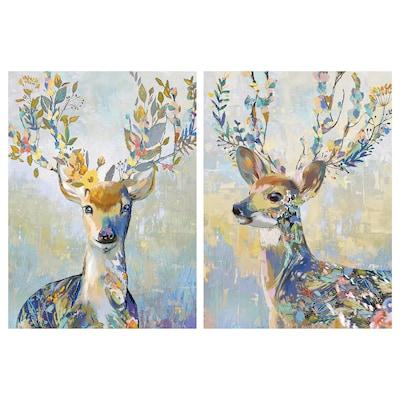 PJÄTTERYD picture colourful reindeer 50 cm 70 cm 2 pack
