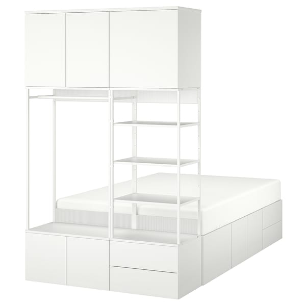 PLATSA Bed frame with 8 door+4 drawers, white/Fonnes, 142x244x223 cm
