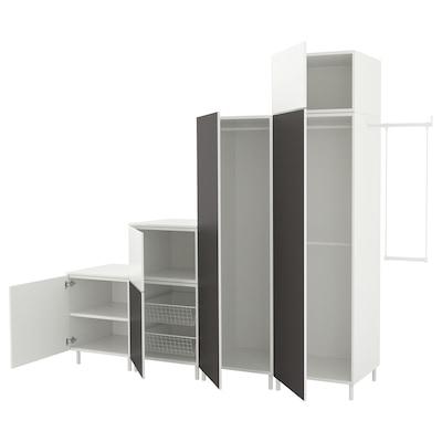 PLATSA Wardrobe, white Fonnes/Skatval dark grey, 275-300x57x231 cm