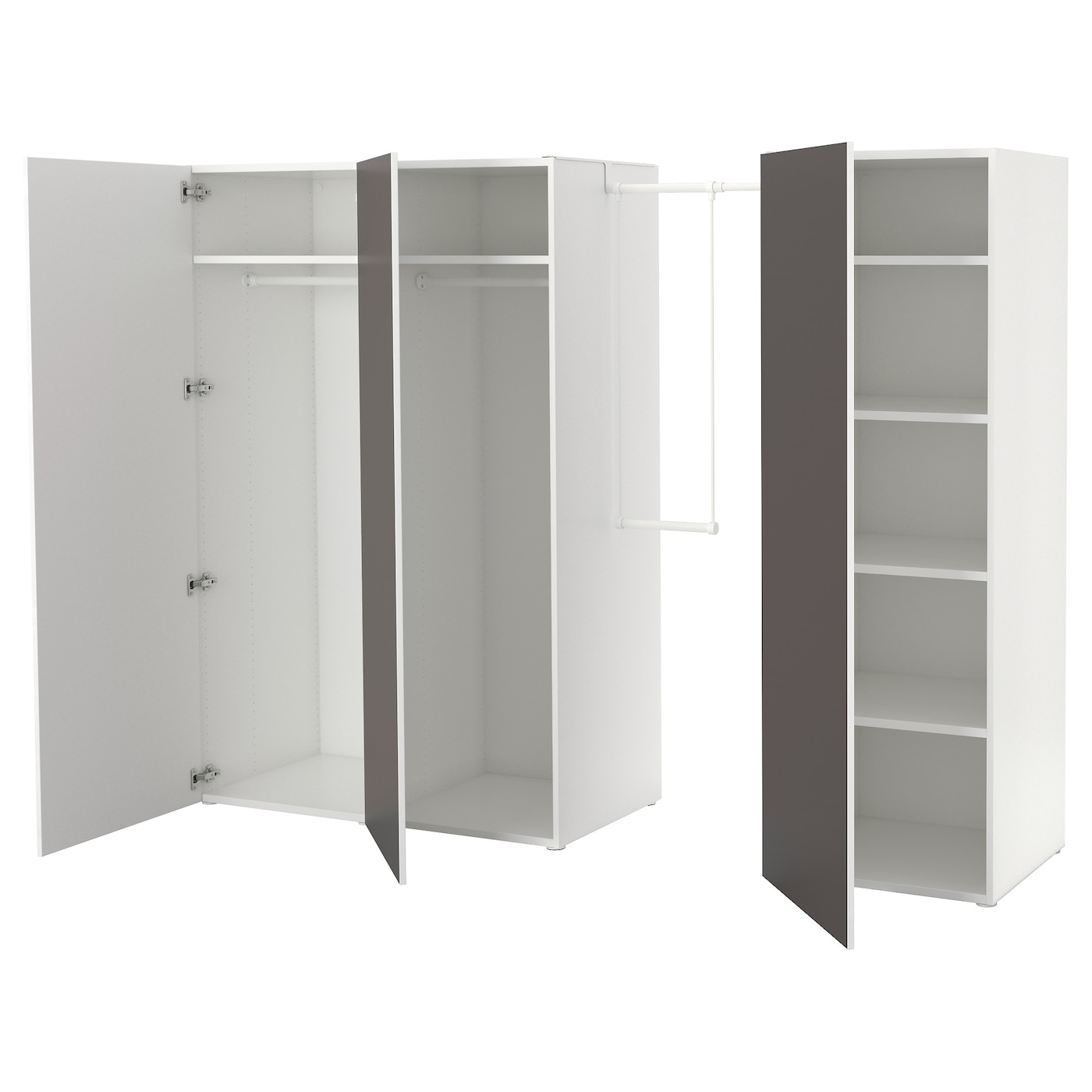 platsa wardrobe white skatval dark grey 215 240x57x181 cm ikea. Black Bedroom Furniture Sets. Home Design Ideas
