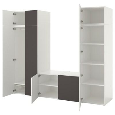 PLATSA Wardrobe with 8 doors, white/Skatval dark grey, 260x57x221 cm