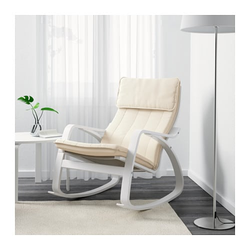 Rocking-chair POÄNG White/ransta natural