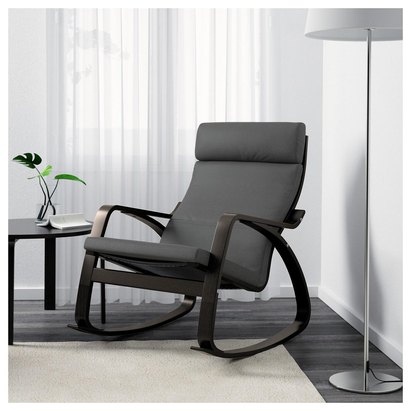 po 196 ng rocking chair black brown finnsta grey ikea