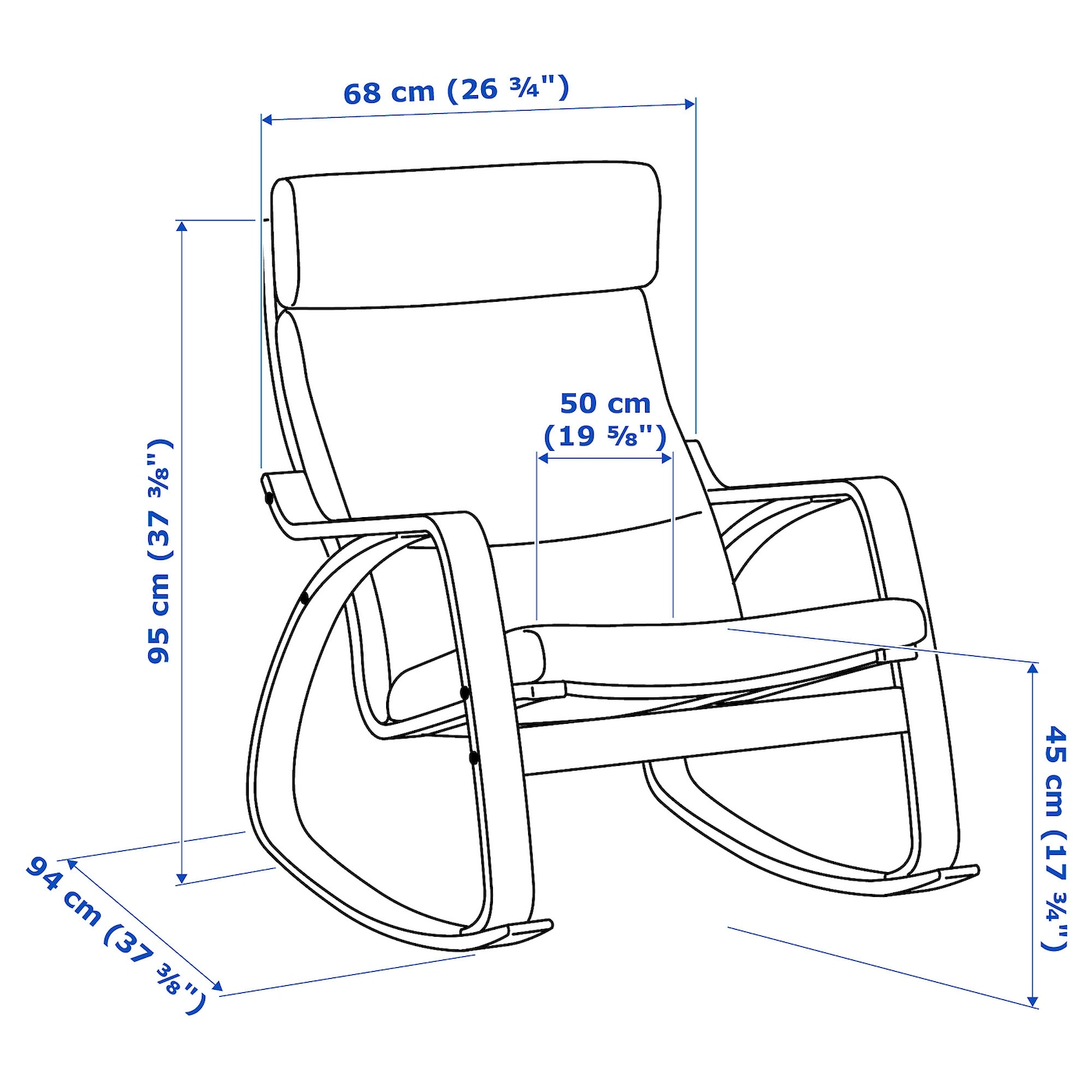 Poäng Rocking Chair Oak Veneerhillared Anthracite Ikea