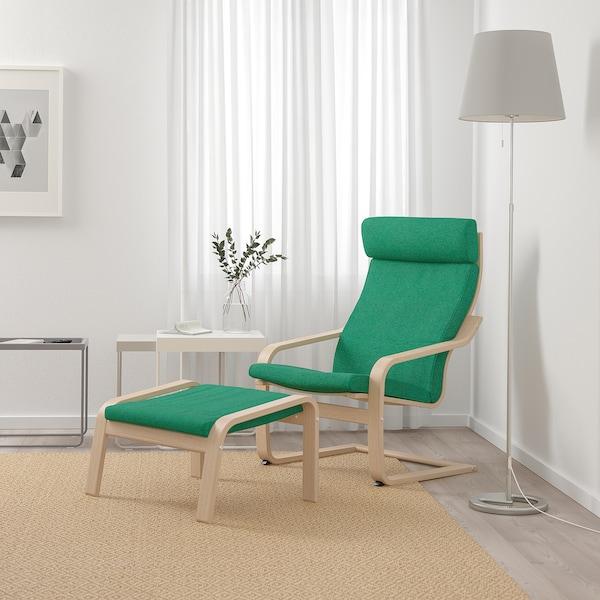 POÄNG Armchair, white stained oak veneer/Lysed bright green