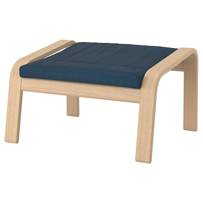 POÄNG Footstool, white stained oak veneer/Hillared dark blue