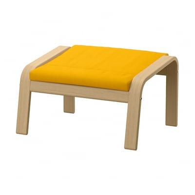 POÄNG Footstool, white stained oak veneer/Skiftebo yellow