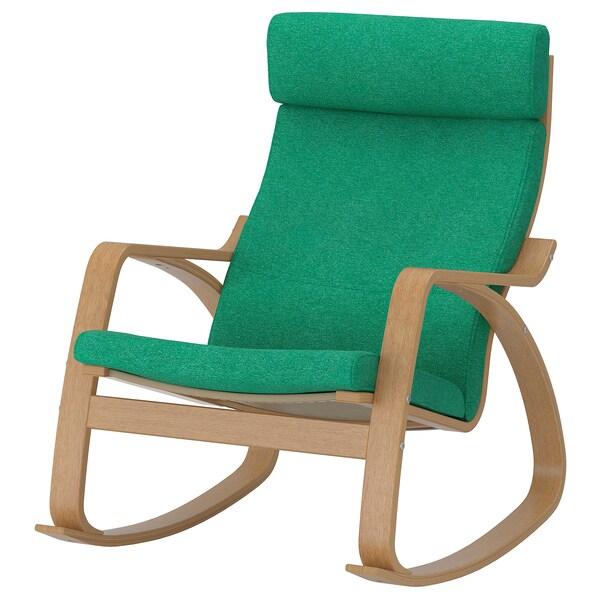 POÄNG rocking-chair oak veneer/Lysed bright green 68 cm 94 cm 95 cm 56 cm 50 cm 45 cm