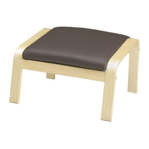 POÄNG Footstool cushion IKEA Soft, hardwearing and easy care leather; practical for families with children.