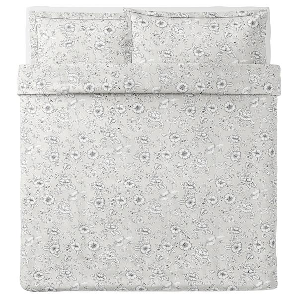 PRAKTBRÄCKA Quilt cover and 2 pillowcases, light grey/white, 240x220/50x80 cm