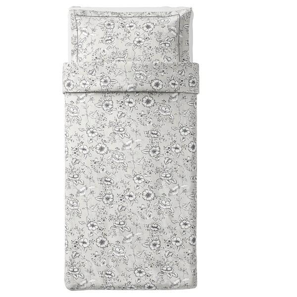 PRAKTBRÄCKA quilt cover and pillowcase light grey/white 250 /inch² 1 pack 200 cm 150 cm 50 cm 80 cm