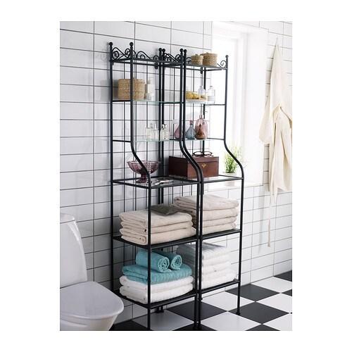 Ikea Bathroom Storage Unit: RÖNNSKÄR Shelving Unit Black 42x176 Cm