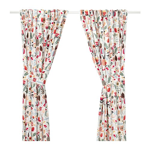 IKEA RÖDARV curtains with tie-backs, 1 pair
