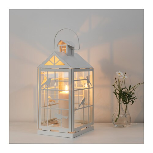 Rappt lantern for block candle in outdoor white 46 cm ikea - Laterne ikea ...