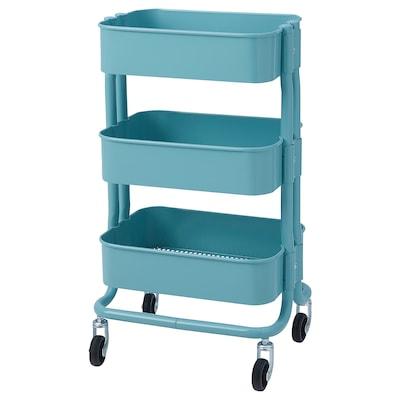 RÅSHULT Trolley, turquoise, 38x28x65 cm