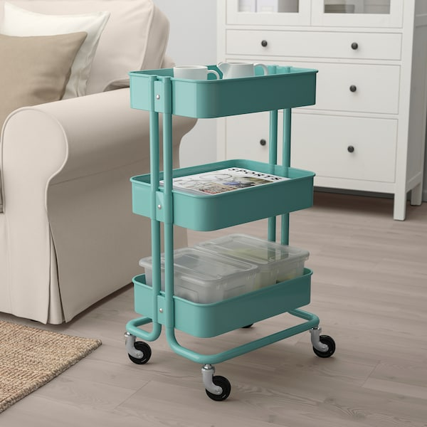 RÅSKOG trolley turquoise 35 cm 45 cm 78 cm