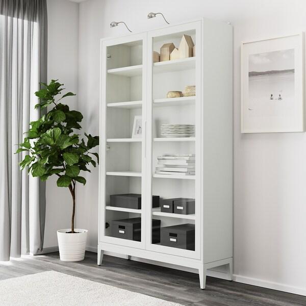 REGISSÖR Glass-door cabinet, white, 118x203 cm