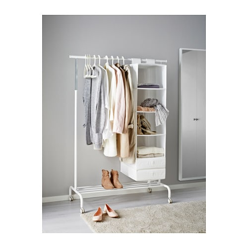 IKEA RIGGA clothes rack There is room for boxes or 4 pairs of shoes on the rack at the bottom.