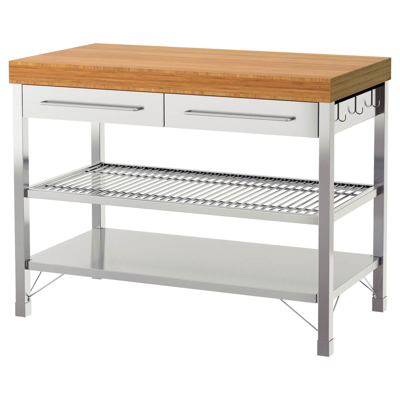 kitchen work table with storage rimforsa work bench stainless steel bamboo 120 x 63 5 x 92 8772