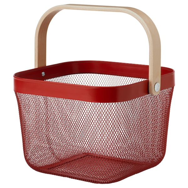 RISATORP Basket, red, 25x26x18 cm