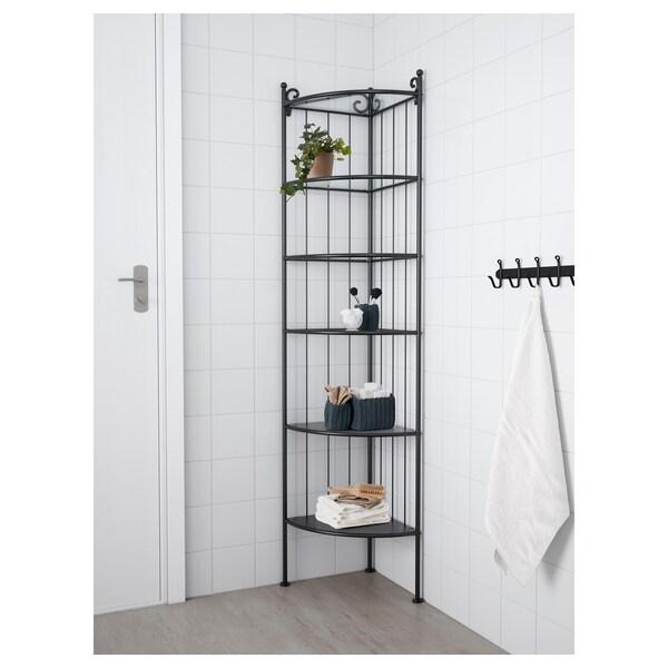 RÖNNSKÄR Corner shelf unit, black