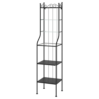 RÖNNSKÄR Shelving unit, black, 42x176 cm