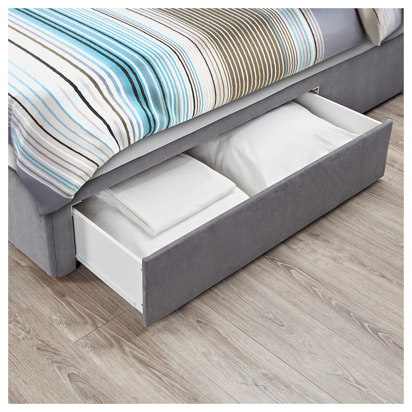 Rugsund Divan Base With 2 Drawers Tallmyra Grey Standard King Ikea