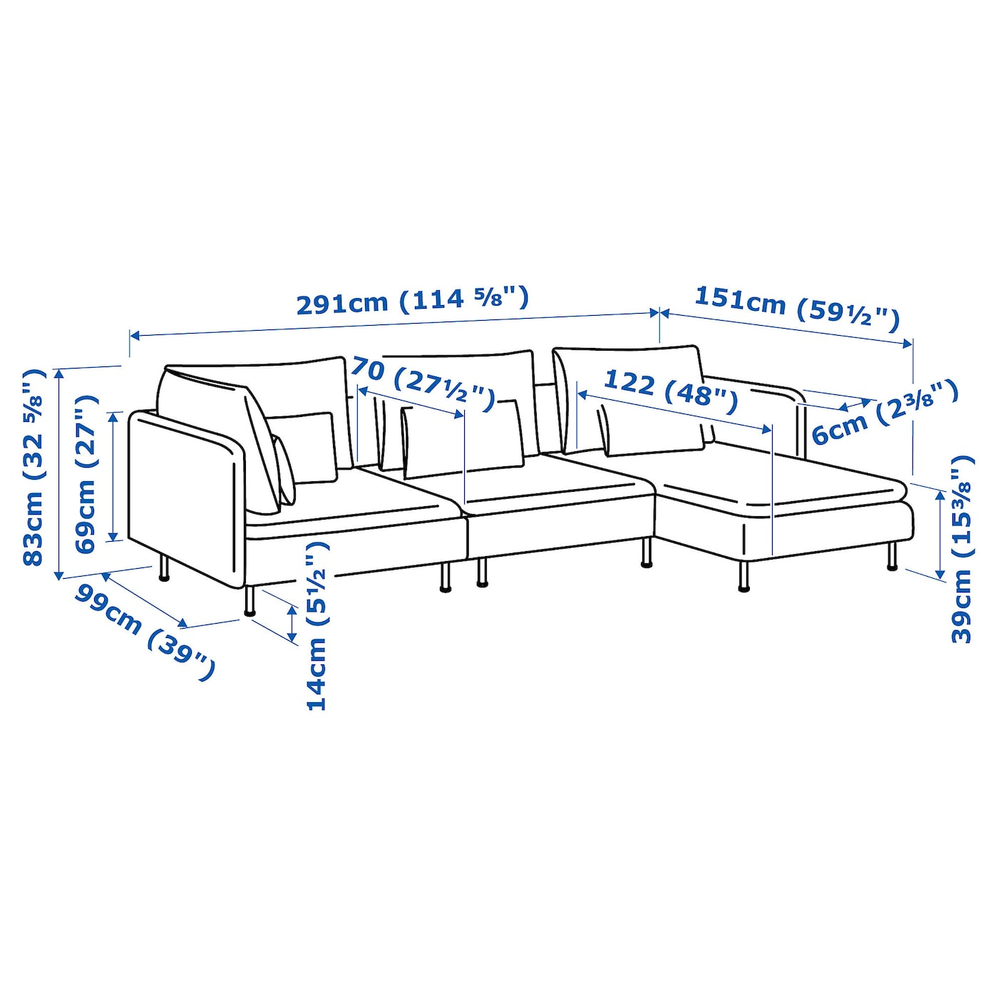 IKEA SÖDERHAMN 4-seat sofa 10 year guarantee. Read about the terms in the guarantee brochure.