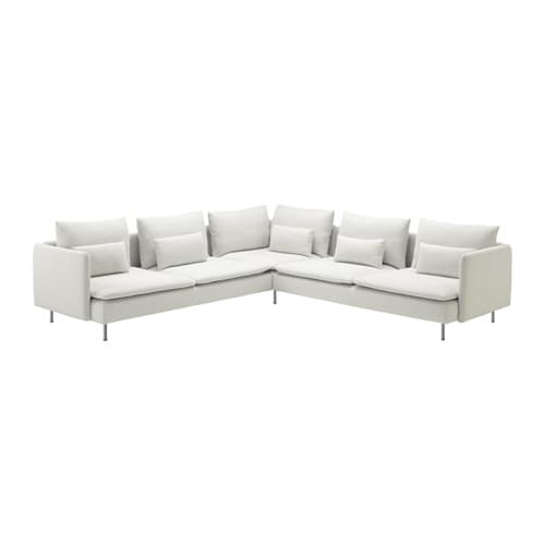 IKEA SÖDERHAMN corner sofa 2+2 Hardwearing microfibre which is soft and smooth.
