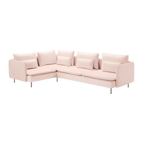 S–DERHAMN Corner sofa 4 seat Samsta light pink 291x198 cm IKEA