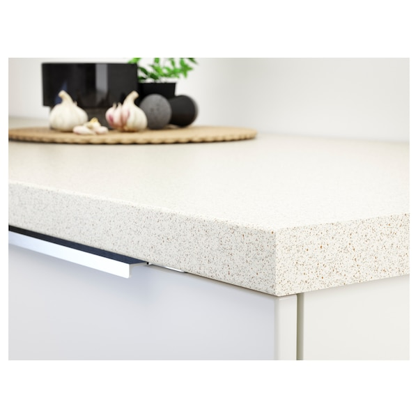 SÄLJAN Worktop, white stone effect/laminate, 246x3.8 cm